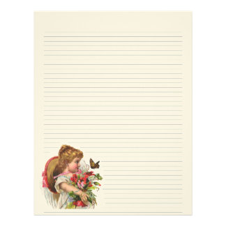 Vintage Girl and Flowers Lined Letterhead