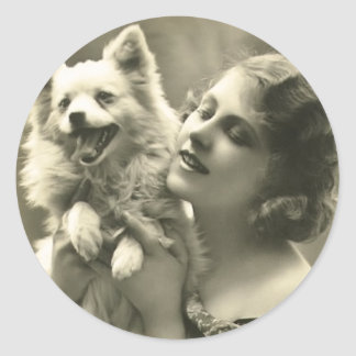 Vintage Girl and Her Dog Stickers