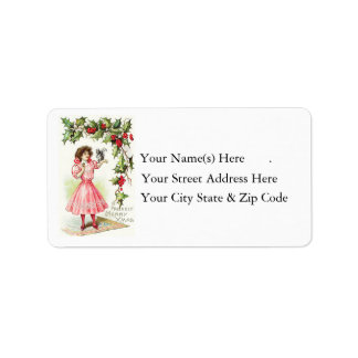 Vintage Girl and Holly Address Label