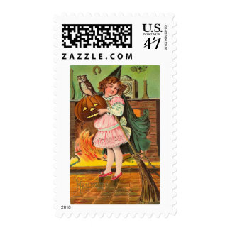 Vintage Girl and Owl Medium Postage