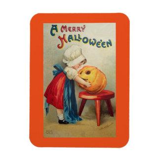 Vintage Girl And Pumpkin Magnet
