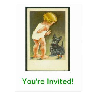Vintage Girl and Scottish Terrier Postcard