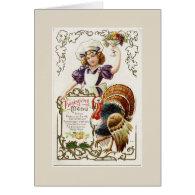 Vintage Girl and Thanksgiving Menu Greeting Card