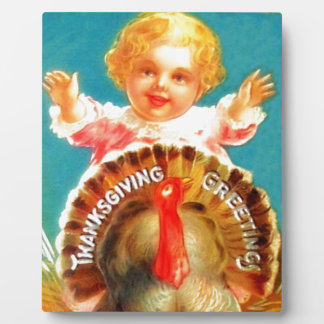 Vintage Girl and Turkey Thanksgiving Plaque