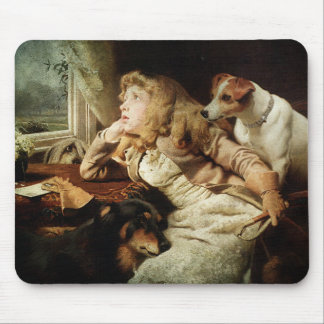 Vintage Girl and Two Dogs Mouse Pad