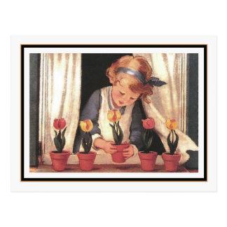 Vintage Girl and Windowbox by Jessie Willcox Smith Postcard