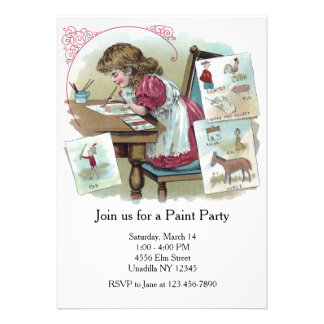 Vintage Girl Artist Kids' Paint Party Card