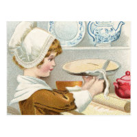 VINTAGE GIRL BAKING PIE POSTCARD