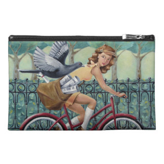 Vintage Girl & Bicycle Travel Accessory Bag