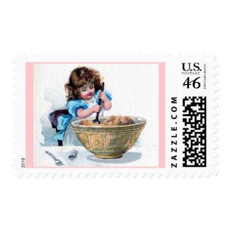 Vintage Girl Big Bowl Postage Stamps