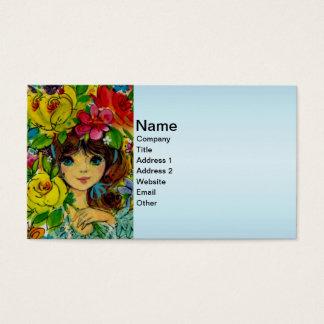 Vintage Girl Bouquet Flowers Hat Business Card
