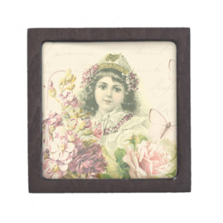 Vintage girl box with beautiful flowers
