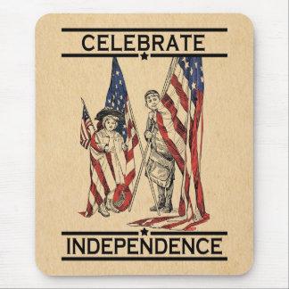 Vintage Girl & Boy w/American Flag USA Patriotic Mouse Pad