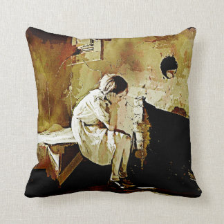 Vintage Girl by Fireplace Throw PIllow