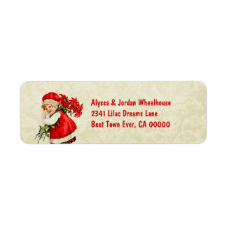 Vintage Girl Carrying Poinsettias CH203 Label