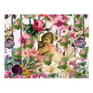 Vintage Girl & Cat Roses Flowers Stripes Pattern Postcard