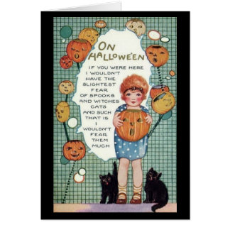 Vintage girl, cats and pumpkins Halloween Card