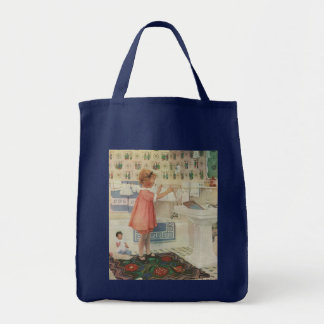 Vintage Girl, Child Doing Laundry Hanging Clothes Grocery Tote Bag