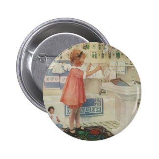 Vintage Girl, Child Doing Laundry Hanging Clothes 2 Inch Round Button