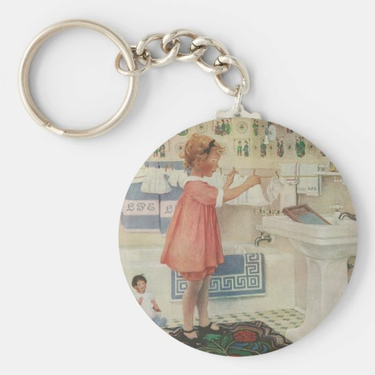 Vintage Girl, Child Doing Laundry Hanging Clothes Keychain