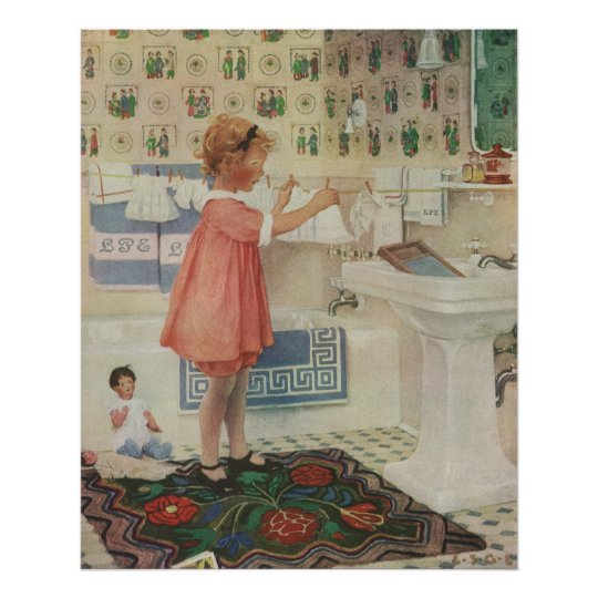 Vintage Girl Child Doing Laundry Hanging Clothes Poster
