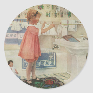 Vintage Girl, Child Doing Laundry Hanging Clothes Classic Round Sticker