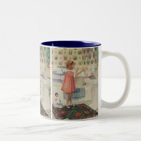 Vintage Girl, Child Doing Laundry Hanging Clothes Two-Tone Coffee Mug