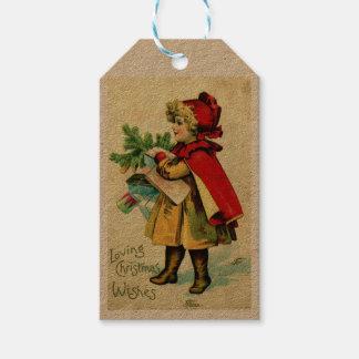 Vintage Girl Christmas Shopping Gift Tags