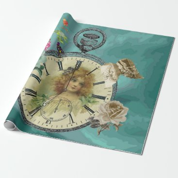 moondreamsmusic Vintage Girl Clock Watch Wrapping Paper
