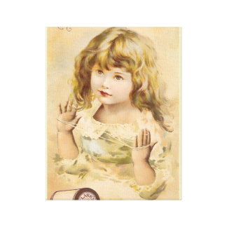 Vintage Girl Cotton Thread Advertisement Canvas Print
