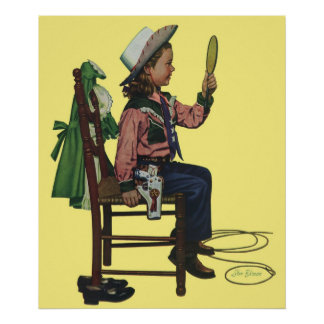 Vintage Girl Cowgirl Looking Mirror She s so Vain Print