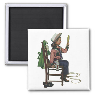 Vintage Girl Cowgirl Looking  Mirror She's so Vain 2 Inch Square Magnet