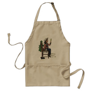 Vintage Girl Cowgirl Looking  Mirror She's so Vain Adult Apron