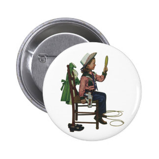 Vintage Girl Cowgirl Looking  Mirror She's so Vain 2 Inch Round Button