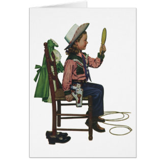Vintage Girl Cowgirl Looking  Mirror She's so Vain Card