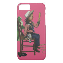 Vintage Girl Cowgirl Looking  Mirror She's so Vain iPhone 8/7 Case
