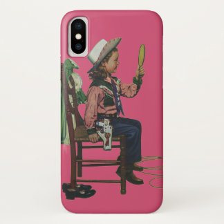 Vintage Girl Cowgirl Looking  Mirror She's so Vain iPhone X Case