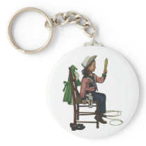 Vintage Girl Cowgirl Looking  Mirror She's so Vain Keychain