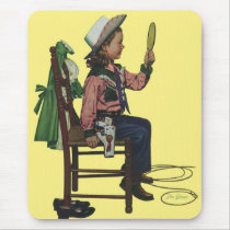Vintage Girl Cowgirl Looking  Mirror She's so Vain Mouse Pad