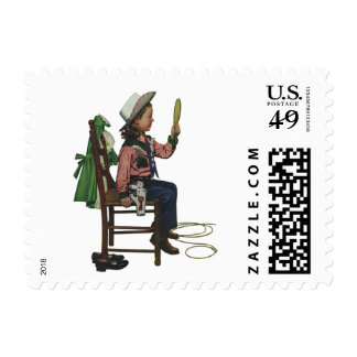 Vintage Girl Cowgirl Looking  Mirror She's so Vain Postage