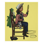 Vintage Girl Cowgirl Looking  Mirror She's so Vain Print