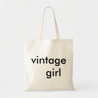 vintage girl cute tote for the supa savvy shopper. canvas bags