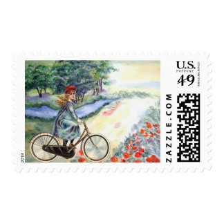 Vintage Girl Cycling in the Country Painting Stamp