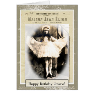 Vintage Girl Dressed as Princess Birthday Card