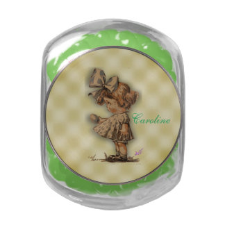 Vintage Girl & Egg Candy Jar w/Green Jelly Bellies Glass Candy Jars