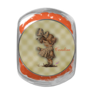 Vintage Girl & Egg Candy Jar w/Orange JellyBellies Glass Jars