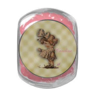 Vintage Girl & Egg Candy Jar w/ Pink Jelly Bellies