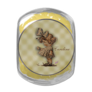 Vintage Girl & Egg Candy Jar w/Yellow JellyBellies Glass Candy Jar