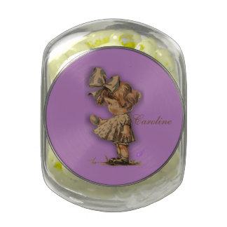 Vintage Girl & Egg CandyJar w/Popcorn JellyBellies Glass Jars