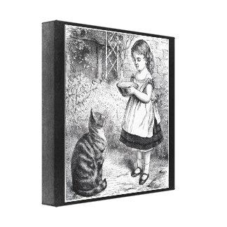 Vintage Girl Feeding Cat a Saucer of Milk Canvas Print